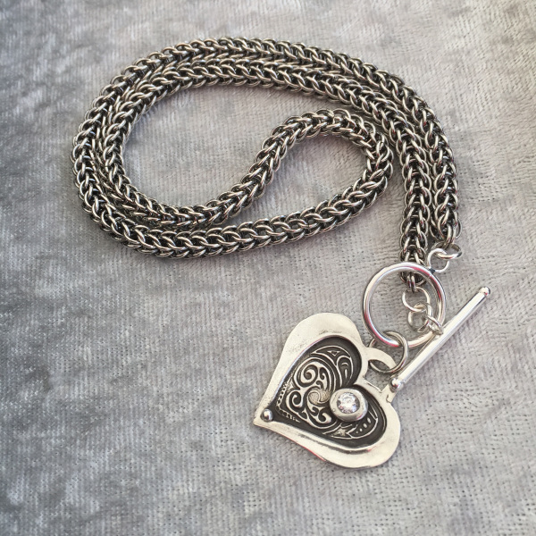 Mom's Heart on Chain Maille