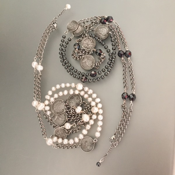 Pearls, Hematite and Coin