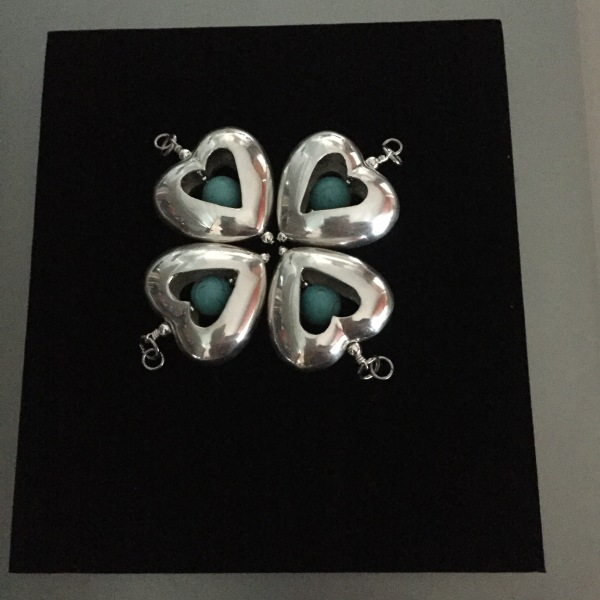 Heart Pendants with Turquoise