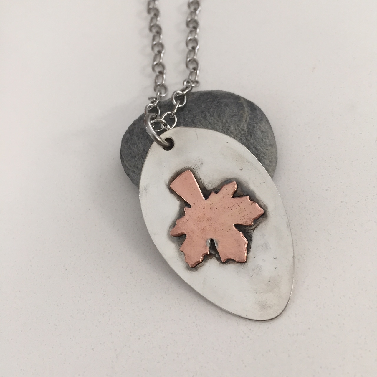 Copper Penny Maple Leaf Pendant