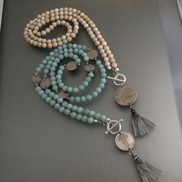 Amazonite and Riverstone with Tassel Coins