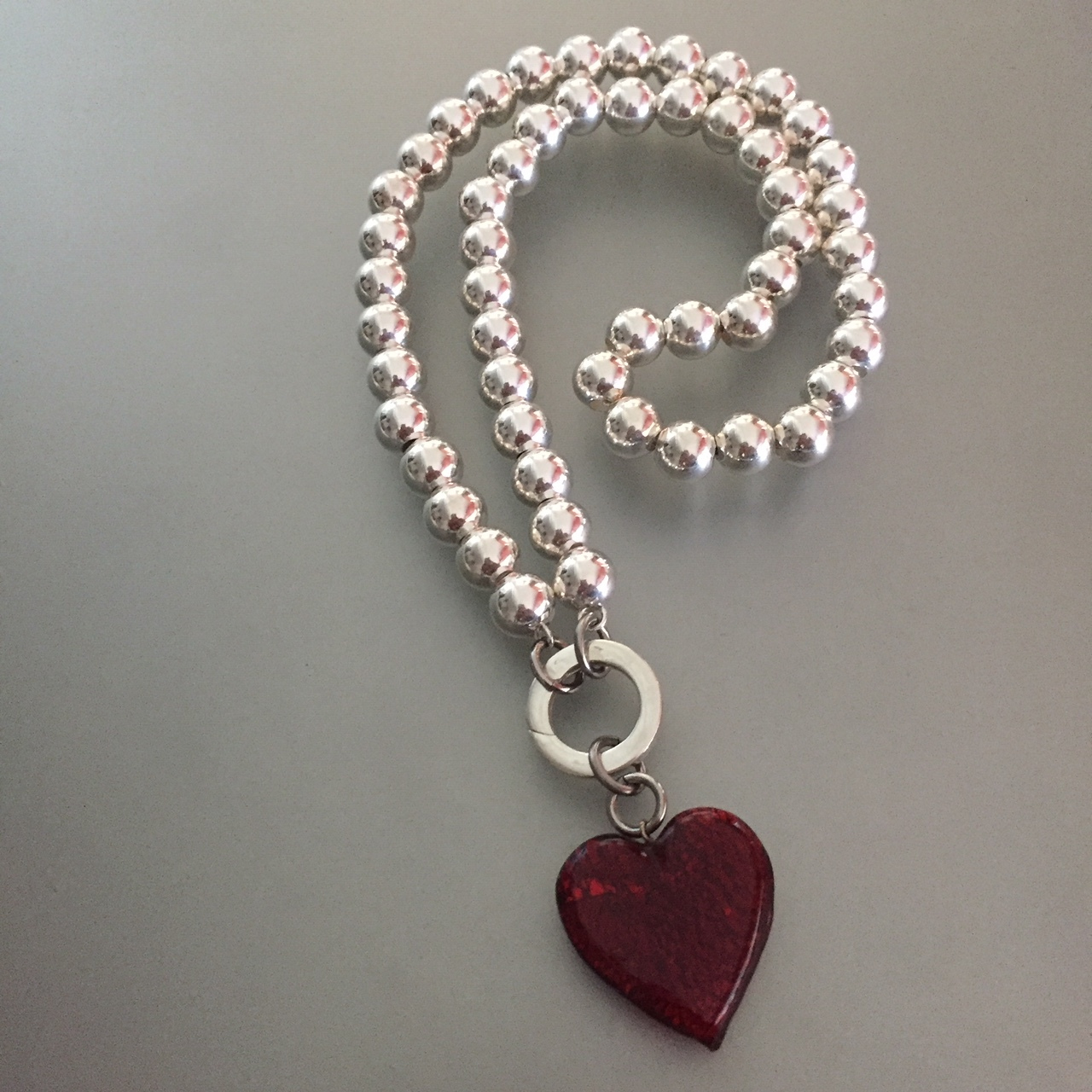 Silver Pearls and Red Silver Leaf Heart