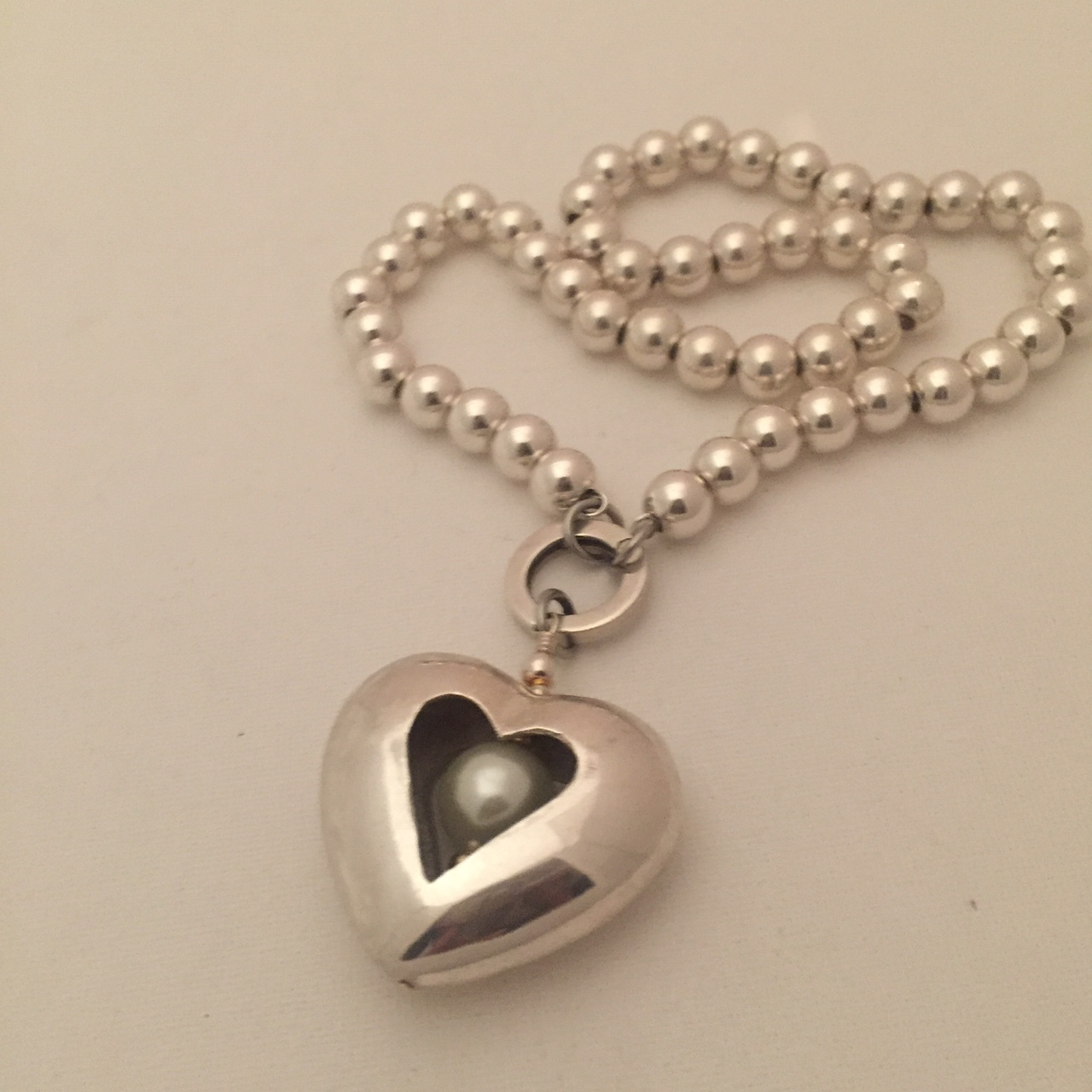 Puff Pearl Heart on Silver Pearls