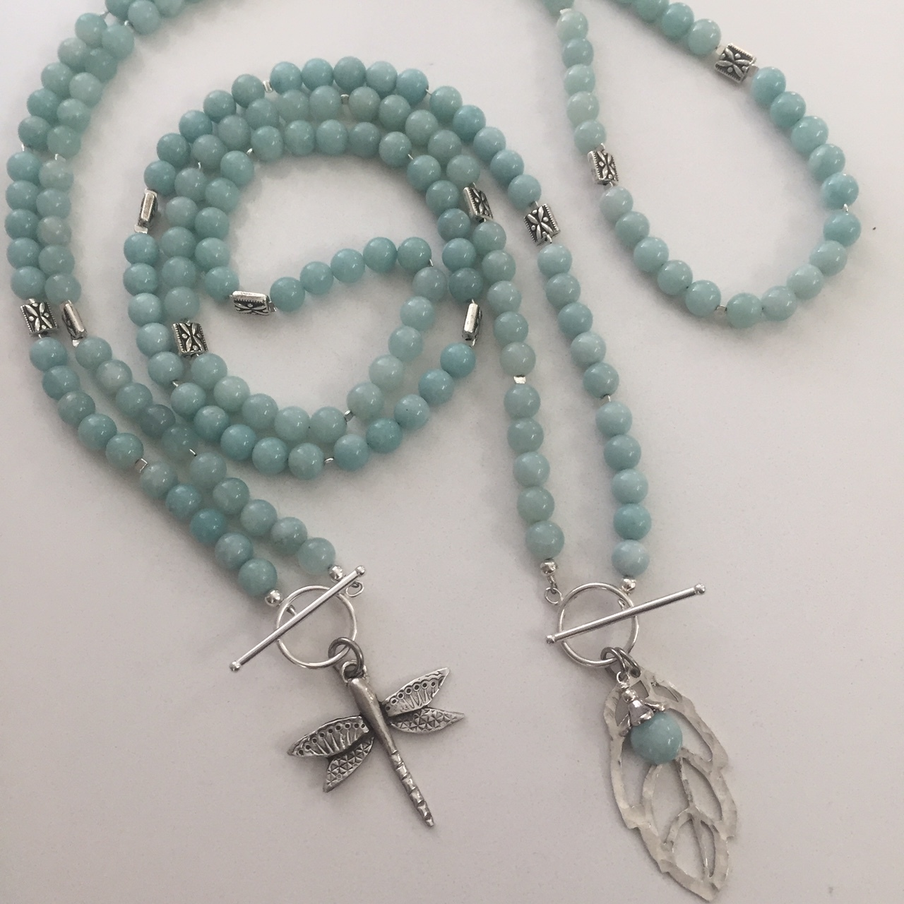 Amazonite with Dragonfly and Leaf